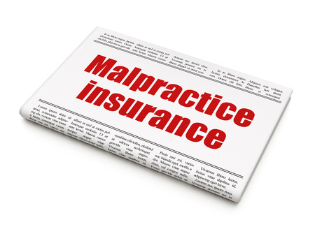 malpractice: Insurance concept: newspaper headline Malpractice Insurance on White background, 3d render Stock Photo