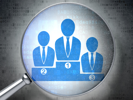 digital background: Finance concept: magnifying optical glass with Business Team icon on digital background Stock Photo