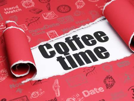coffee time: Time concept: black text Coffee Time under the curled piece of Red torn paper with  Hand Drawing Time Icons Stock Photo