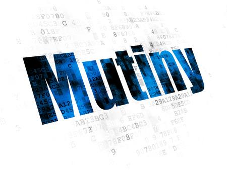 pixelated: Politics concept: Pixelated blue text Mutiny on Digital background