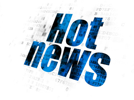 hot news: News concept: Pixelated blue text Hot News on Digital background