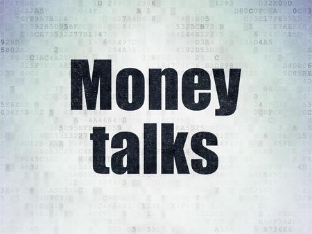 conversaciones: Concepto de negocio: Pintadas palabra negro Money Talks sobre fondo de papel digital