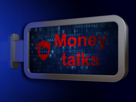 conversaciones: Concepto de negocio: Money Talks y carpetas con el escudo de la publicidad fondo cartelera, 3d