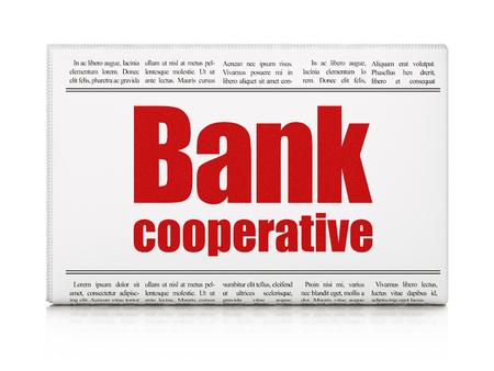 cooperativismo: Concepto de banca: titular de periódico Banco Cooperativo sobre fondo blanco, 3d