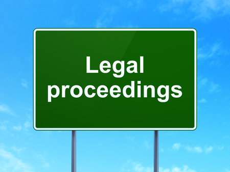proceedings: Law concept: Legal Proceedings on green road (highway) sign, clear blue sky background, 3d render