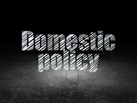 domestic policy: Political concept: Glowing text Domestic Policy in grunge dark room with Dirty Floor, black background Stock Photo