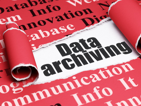 archiving: Data concept: black text Data Archiving under the curled piece of Red torn paper with  Tag Cloud Stock Photo