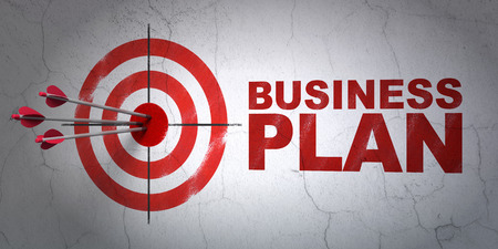 money management: Success business concept: arrows hitting the center of target, Red Business Plan on wall background