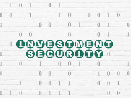 investment security: Security concept: Painted green text Investment Security on White Brick wall background with Binary Code