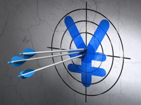 debt goals: Success money concept: arrows hitting the center of Blue Yen target on wall background