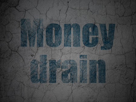 drain: Banking concept: Blue Money Drain on grunge textured concrete wall background
