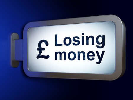 losing money: Banking concept: Losing Money and Pound on advertising billboard background, 3d render