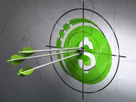 dollar sign icon: Success money concept: arrows hitting the center of Green Dollar Coin target on wall background
