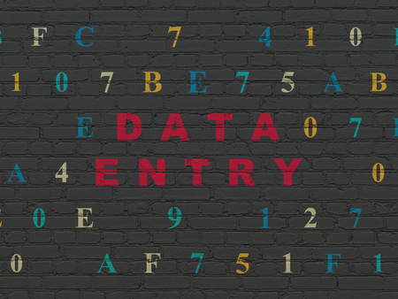 data entry: Data concept: Painted red text Data Entry on Black Brick wall background with Hexadecimal Code Stock Photo