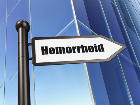 hemorrhoid: Health concept: sign Hemorrhoid on Building background, 3d render