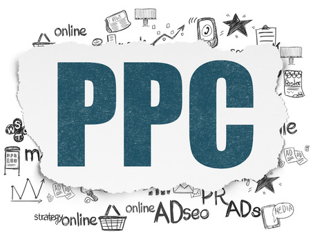 pr: Marketing concept: Painted blue text PPC on Torn Paper background with  Hand Drawn Marketing Icons