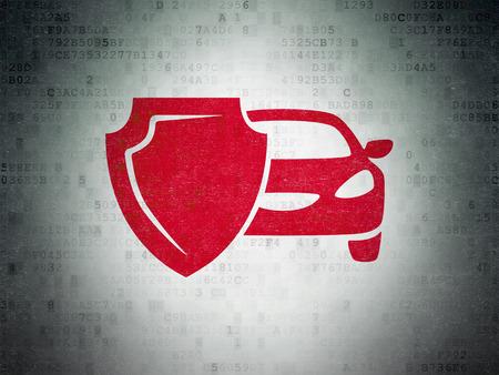保険の概念: デジタル紙の背景の赤い車と盾のアイコンを描いた