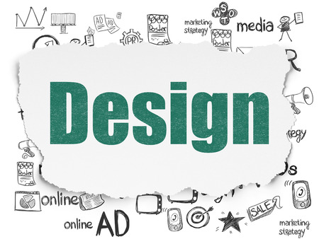 advertising design: Advertising concept: Painted green text Design on Torn Paper background with  Hand Drawn Marketing Icons Stock Photo