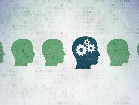 aprendizaje: Aprendizaje de conceptos: fila de iconos pintados cabeza de color verde alrededor de la cabeza azul con el icono de engranajes en el fondo de papel digital