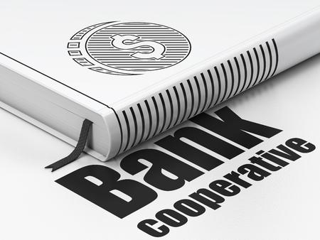 cooperativa: Concepto de dinero: Libro cerrado con el icono Negro moneda del d�lar y el texto Banco Cooperativo en el piso, fondo blanco, 3d