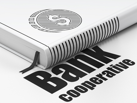 cooperative: Money concept: closed book with Black Dollar Coin icon and text Bank Cooperative on floor, white background, 3d render