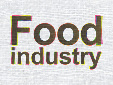 food industry: Industry concept: CMYK Food Industry on linen fabric texture background Stock Photo