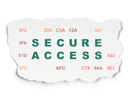 hexadecimal: Security concept: Painted green text Secure Access on Torn Paper background with  Hexadecimal Code