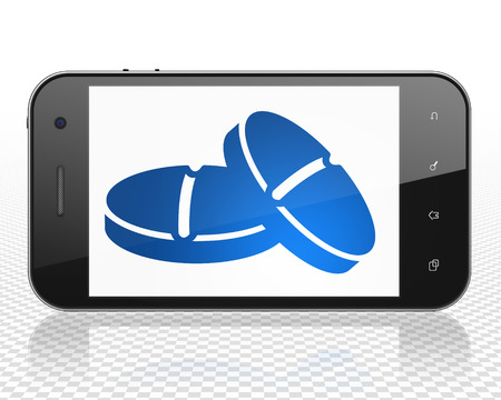 healing touch: Health concept: Smartphone with blue Pills icon on display