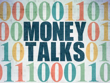 conversaciones: Concepto de negocio: Pintado de texto azules Money Talks sobre fondo de papel digital con c�digo binario