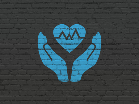 liability insurance: Insurance concept: Painted blue Heart And Palm icon on Black Brick wall background