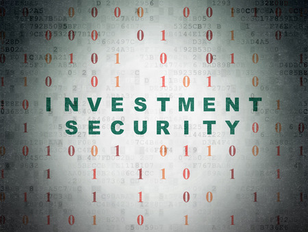 investment security: Security concept: Painted green text Investment Security on Digital Paper background with Binary Code