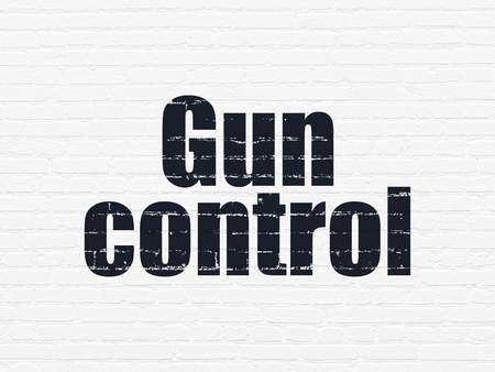 gun control: Security concept: Painted black text Gun Control on White Brick wall background