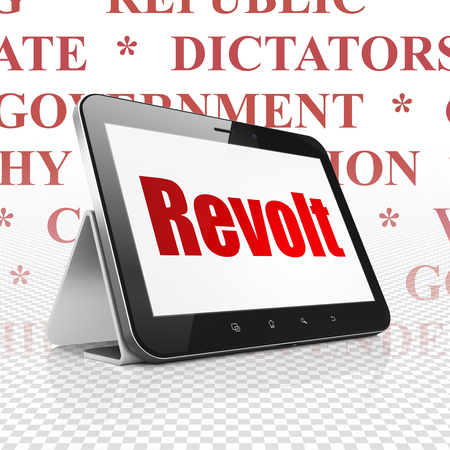 revolt: Political concept: Tablet Computer with  red text Revolt on display,  Tag Cloud background Stock Photo