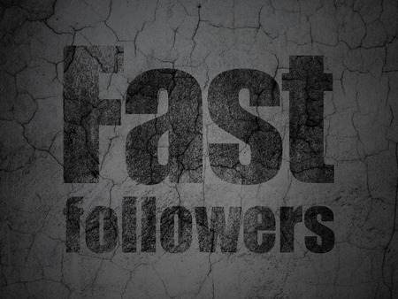 followers: Finance concept: Black Fast Followers on grunge textured concrete wall background