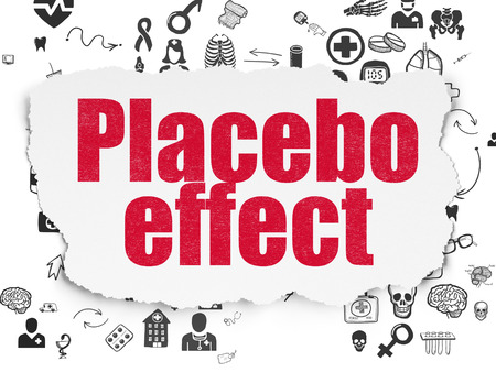 placebo: Health concept: Painted red text Placebo Effect on Torn Paper background with Scheme Of Hand Drawn Medicine Icons Stock Photo