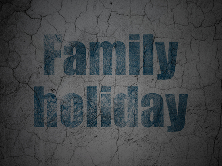 family holiday: Travel concept: Blue Family Holiday on grunge textured concrete wall background Stock Photo