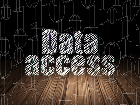 room access: Information concept: Glowing text Data Access in grunge dark room with Wooden Floor, black background with  Binary Code