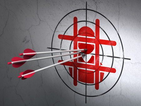 goal cage: Success law concept: arrows hitting the center of Red Criminal target on wall background Stock Photo