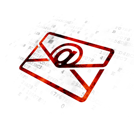 email: Finance concept: Pixelated red Email icon on Digital background Stock Photo