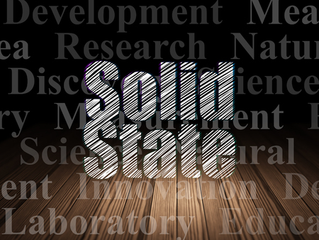 solid state: Science concept: Glowing text Solid State in grunge dark room with Wooden Floor, black background with  Tag Cloud Stock Photo