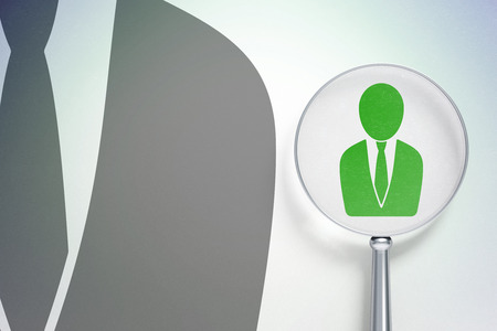 data protection act: Law concept: magnifying optical glass with Business Man icon on digital background Stock Photo
