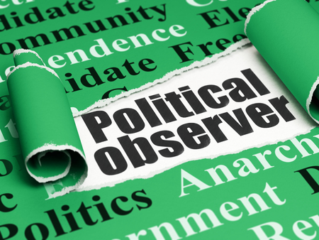 observer: Political concept: black text Political Observer under the curled piece of Green torn paper with  Tag Cloud Stock Photo
