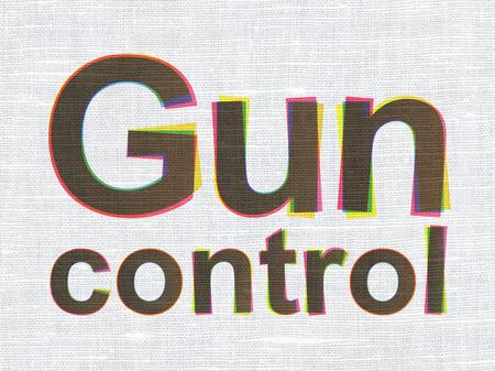 gun control: Privacy concept: CMYK Gun Control on linen fabric texture background Stock Photo