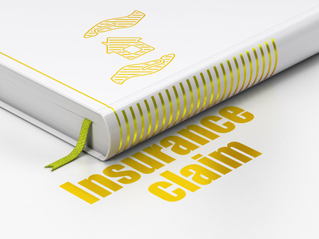 gold house: Insurance concept: closed book with Gold House And Palm icon and text Insurance Claim on floor, white background, 3d render