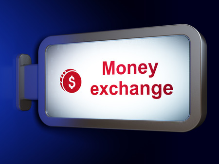 money exchange: Currency concept: Money Exchange and Dollar Coin on advertising billboard background, 3d render Stock Photo