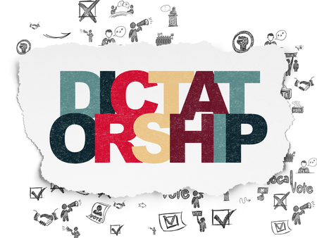 dictatorship: Politics concept: Painted multicolor text Dictatorship on Torn Paper background with Scheme Of Hand Drawn Politics Icons Stock Photo