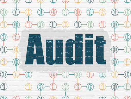 audit: Finance concept: Painted blue text Audit on White Brick wall background with Scheme Of Binary Code Stock Photo
