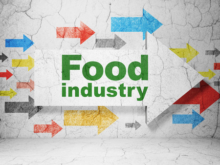 food industry: Manufacuring concept:  arrow with Food Industry on grunge textured concrete wall background Stock Photo