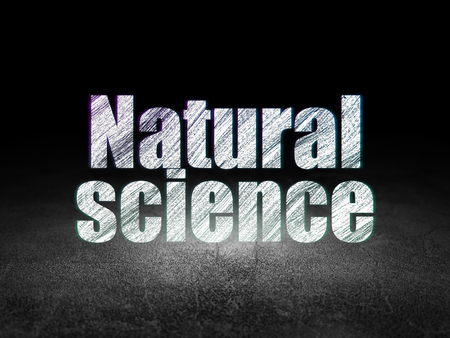 natural science: Science concept: Glowing text Natural Science in grunge dark room with Dirty Floor, black background