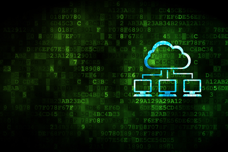 network concept: Cloud networking concept: pixelated Cloud Network icon on digital background, empty copyspace for card, text, advertising